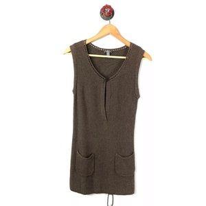 J. Jill Small tunic top sleeveless crochet brown